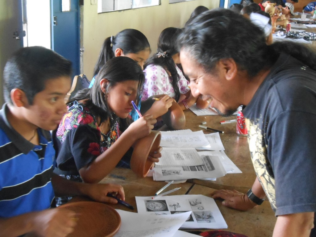 Maya epigrapher Waykan Benito teaches glyphs using pottery as a medium. Supplies for this workshop were purchased using a grant from MAM. Thank you dear readers.