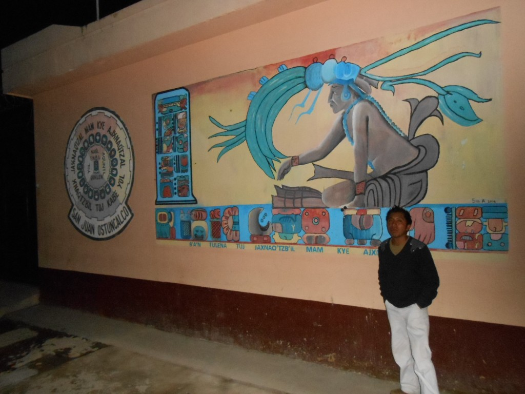 Maya Mam Rony López, one of the Aj Tzib'ab' team that we recently introduced in blog post 11 Ajaw 18 Chen (July 15, 2013) uses his remarkable artistic talents to imbue Maya culture, history, and epigraphy to the students at his school.