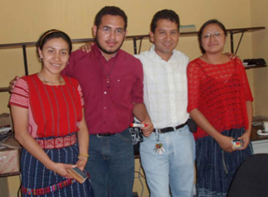 The other group will be the Sak Chuwen Group: (from left to right) Iyaxel Cojti, Alejandro Garay, Igor Xoyon, and Romelia Mo'. Joining the Sak Chuwen Group will be some new names to our readers: Pakal Rodríguez, Berta Coy, Edna Delgado, Ruperto Montejo, William Marcos, José Perez. (Alejandro is not Maya but has been an integral part of the team for some years.)