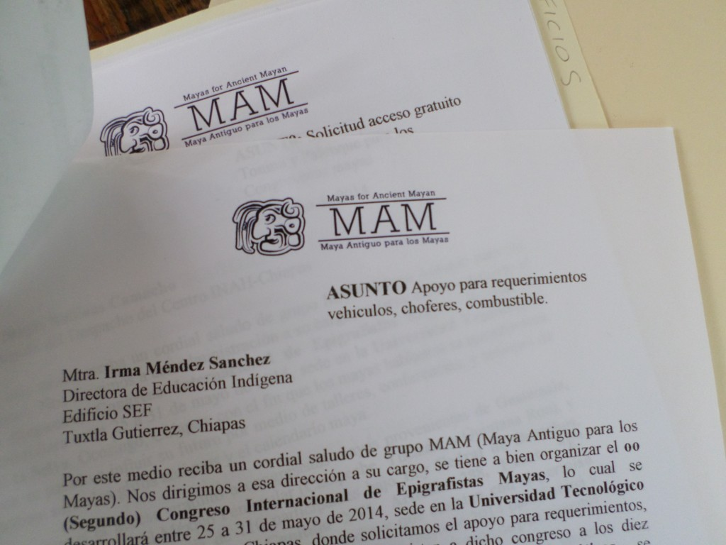 """Oficios,"" formal request letters on MAM letterhead."