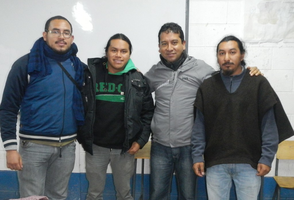 Organizers and instructors (left to right): Alejandro Garay, Kaxho, Igor Xoyon, and B'alam Sotz'.