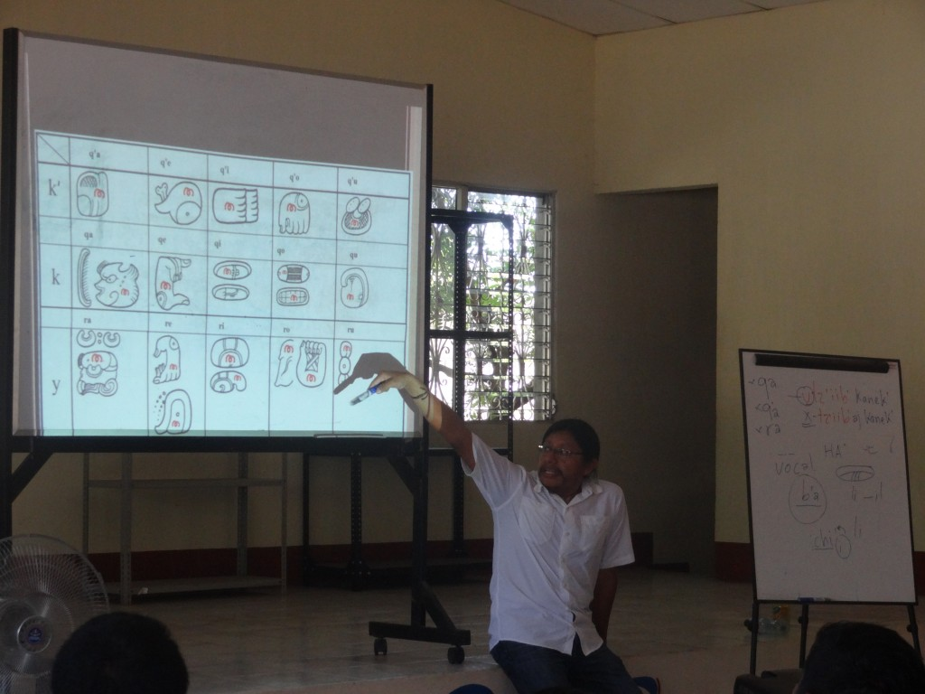 Hector Xol, Workshop Facilitator, explaining the sounds of the modern Maya languages.