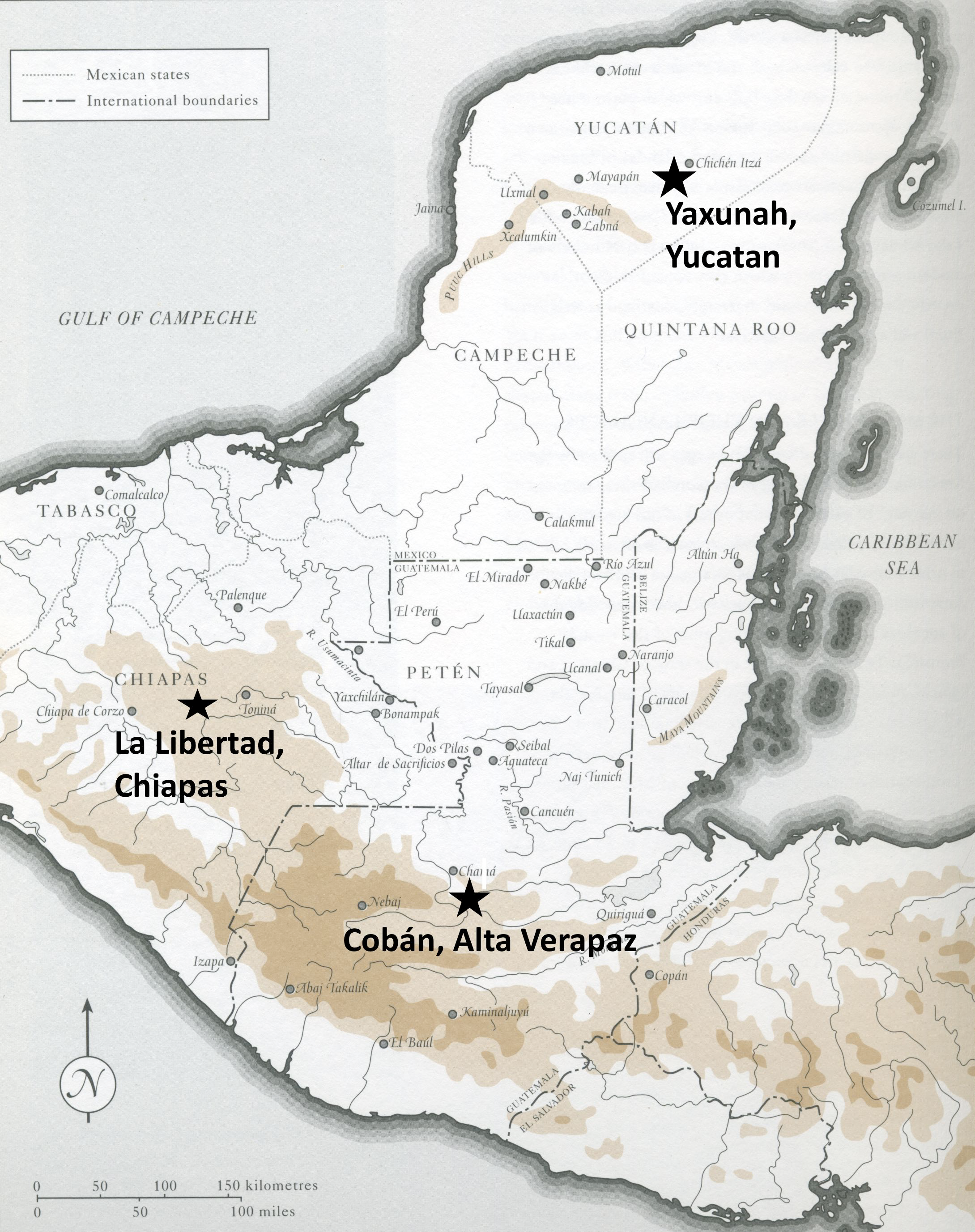 (Mapa cortesia Coe y Kerr: The Maya Scribe and his World)