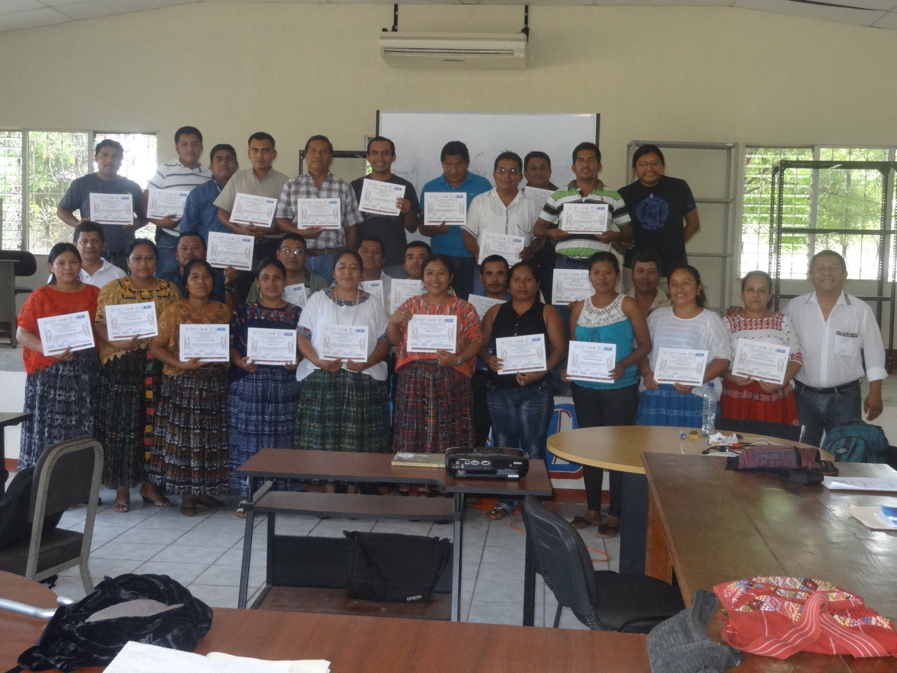 Q'eqchi' Maya school teachers from Izabal Department, Guatemala. Bottom row on far right: Vicor Maquin, local organizer and participant in Ocosingo Congress of Maya Epigraphers; upper row on far right: Q'eqchi' epigrapher Hector Xol.