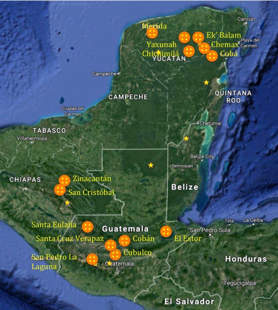 Map of locations where mini-grant recipients are located